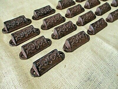 "20 Cast Iron Brown 3"" Ornate Pulls Drawer Cabinet Bin Handles Rustic Vintage"