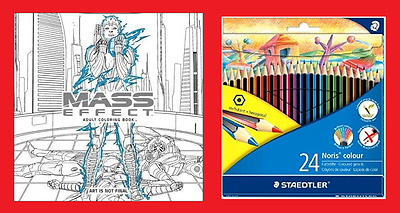 Mass Effect Adult Coloring Book (Colouring Books) & 24 Pencils 9781506702872