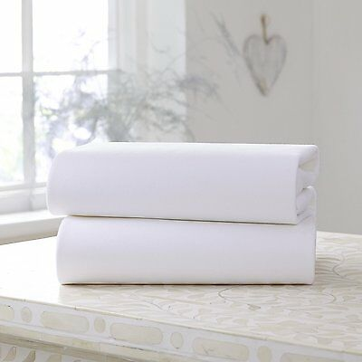 Clair de Lune Cot Bed Cotton Jersey Fitted Sheets 2 Pack White 5033775004909