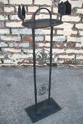 Antique Arts & Crafts Wrought Iron Ashtray Hammered Copper Smoking Stand Gothic
