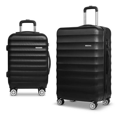Set 2 Hard Shell Lightweight Travel Luggage Tsa Lock Black Wheelie Suitcase