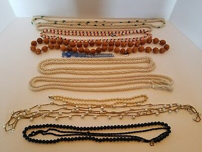 Vintage Estate Jewelry Lot of 14 Necklaces Beaded Type Multi Materials