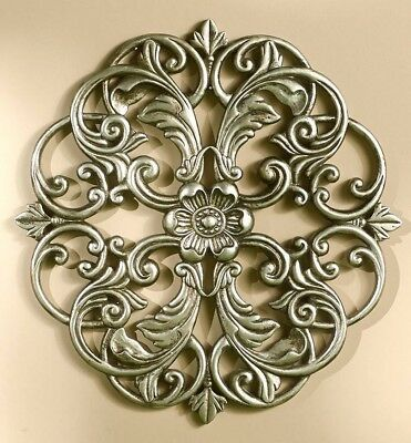 Carved Wood Look Medallion Wall Hanging Decor Pewter NEW