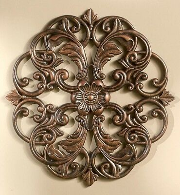 Carved Wood Look Medallion Wall Hanging Decor Bronze NEW