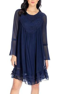 564f1aa8931 NEW - Indigo Thread Co.™ Crochet   Mesh Long Bell Sleeve Babydoll Dress -