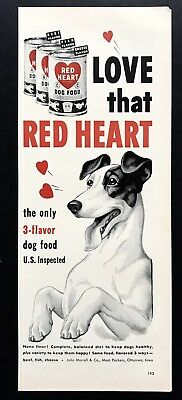 1950 Vintage Print Ad RED HEART Dog Food Puppy Tongue Hanging Out Image