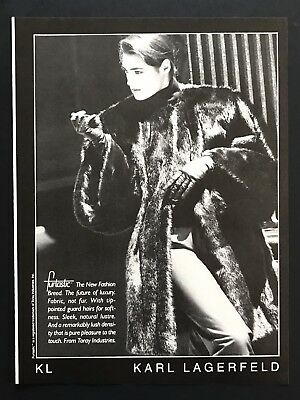 1985 Vintage Print Ad KARL LAGERFELD Woman's Fashion Chic Image 80's Style
