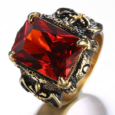 Retro Look Vintage Style Pirate Red Crystals Vikings Ring The Ring of Honor M64