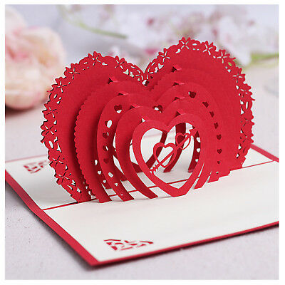 Handmade 3D Pop Up Rose Flower Love tree Valentine's card Birthday Cards