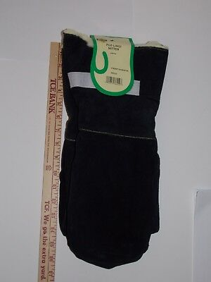 Quality Men's Black Xl Jumbo Pile Lined Leather Chopper Mittens Long Gauntlet