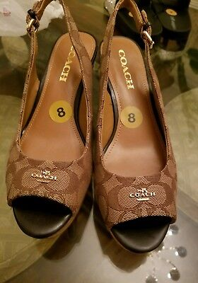 4c645594160 NEW COACH Women s Wedge Sling Back Espadrille FERRY Logo Shoes Size 8 brown  auth
