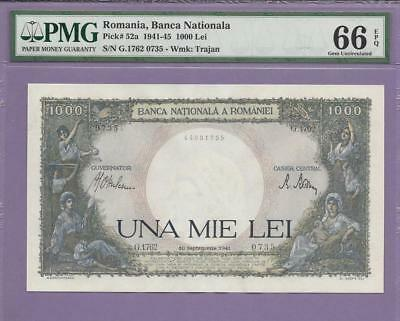 Romania, Banca Nationala 1941-45  1000 Lei pick # 52a  PMG EPQ