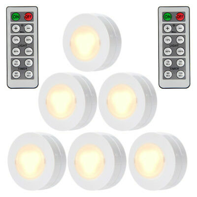 6 Pack LED Round Puck Light Dimmable Cabinet Closet Touch Lamp Battery Powered A