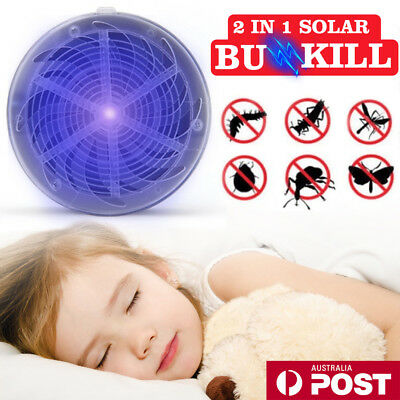 Solar Powered Buzz UV Lamp Light Fly Insect Bug Mosquito Kill Zapper Killer AU