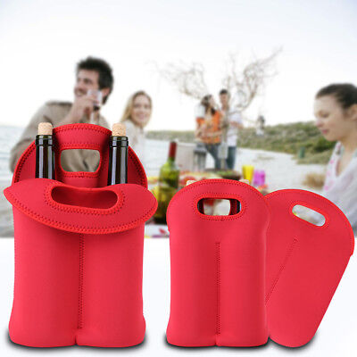 Double Bottle Drink/Wine/Beer Cooler Insulated Neoprene Tote Bag Carrier Gift im