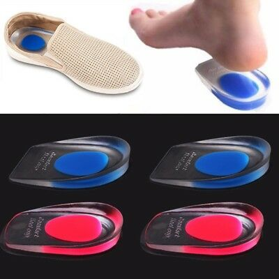 Unisex Gel Heel Cushion Pain Insert Support Insole Relief Plantar Fasciitis NEW