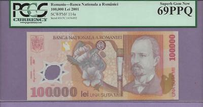 Romania -2001 100,000 Lei  pick # 114a PCGS PPQ 69 SINGLE TOP POP FINEST KNOWN