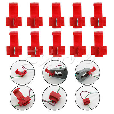 Quick Fast Splice Lock Wire Terminals Crimp 10x Red Electrical Cable Connectors