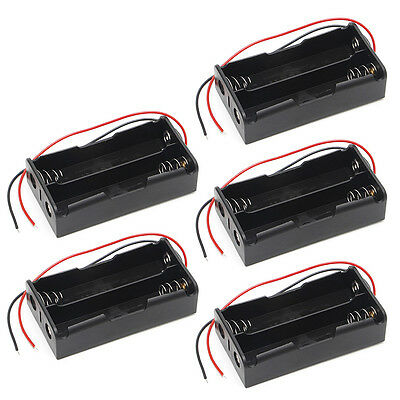 2x18650 Rechargeable Battery 3.7V Clip Holder Box Case With Wire Lead 5 Pcs