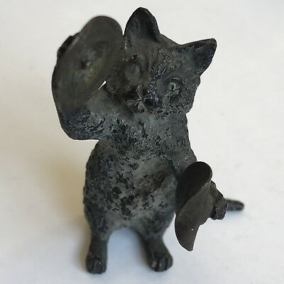 Antique Austrian Cold Painted Bronze Cat With Cymbals Manner Of Bergman