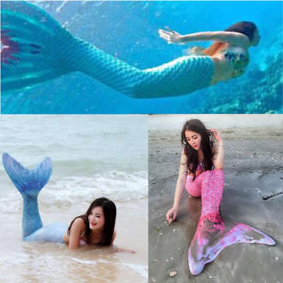Women Kids Girls Fin Mermaid Tail Monofin Swimmable Fairy Tail Swimming Costume