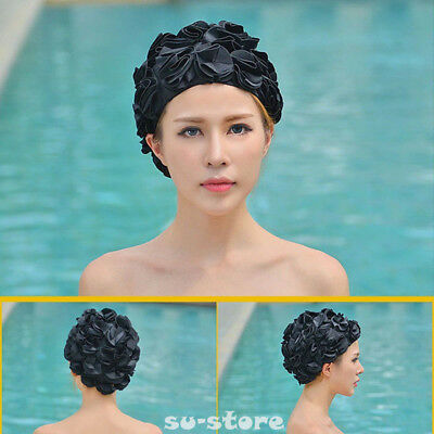 Women Lady Swimming Swim Cap Lace Floral Vintage Bathing Hat Long Hair Adult SU
