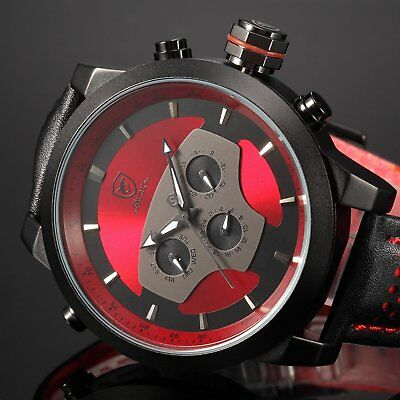 Shark Red Requiem Dual Time Zone Analog Date Day Mens Leather Sport Wrist Watch