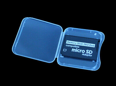 TF Micro SD SDHC to Memory Stick MS Pro Duo Adapter For PSP + Plastic Case