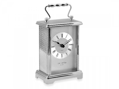 William Widdop Silver Finish White Dial Black Roman Numerals Carriage Clock