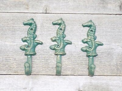 3 Cast Iron Antique Style SEAHORSE Coat Hooks Hat Hook Rack Towel Nautical Beach