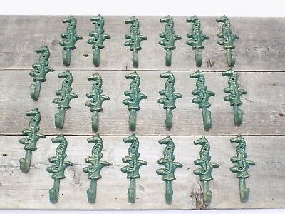 20 Cast Iron Antique Style SEAHORSE Coat Hooks Hat Hook Rack Towel Nautical