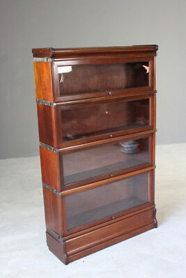 Antique Mahogany Globe Wernicke Glazed Solicitors Lawyers 4 Tier Bookcase