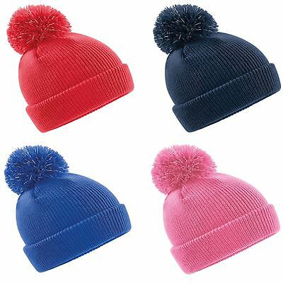 1c773bb20e5e08 Beechfield Junior Reflective Bobble Beanie Safety Fashion Hat Double Layer  Knit