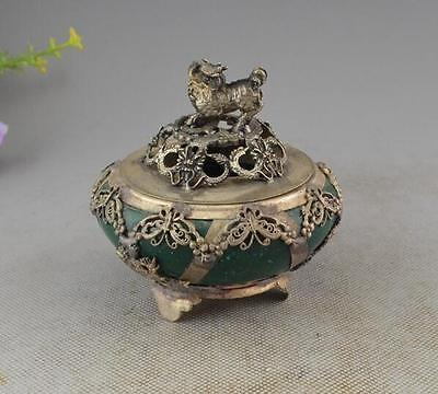 Chinese characteristics jade old retro hand carved kylin incense burner A