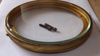 Antique Brass Clock Glass & Casing no face 11.5cm Hinged Vintage Mantle 4 1/2""