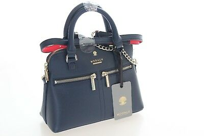 Modalu Brand New Pippa Micro Chained Acrossbody Navy Bag In PU RRP £69.00