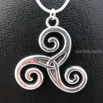 """Celtic Triskele Triple Spiral Pendant with 24"""" Sterling Silver Snake Chain"""