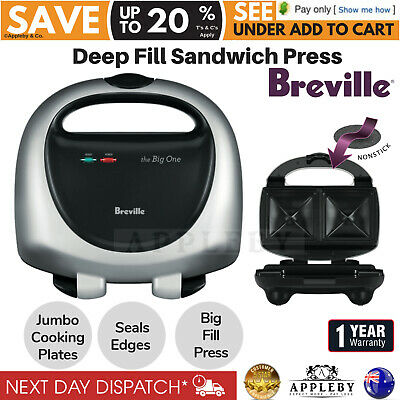 Breville Toasted Sandwich Press Jaffle Maker Nonstick Bread Grill Plate Big Fill