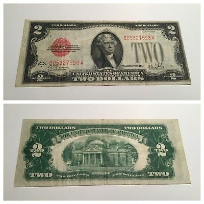 VINTAGE rare $2 1928-B UNITED STATES NOTE TWO DOLLAR BILL JEFFERSON RED SEAL VNC
