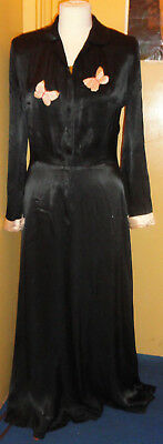 1930's/1940's Black Satin Housecoat With Pink Cuffs/Pink Appliqued Butterflies