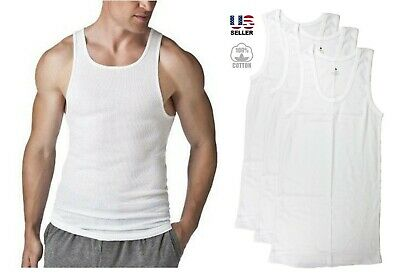 Lots of 3 Mens 100% Cotton Tank Top A-Shirt Wife Beater Undershirt Ribbed New