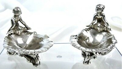 SUPERB pair of SaltCellar or tray with PUTTI of Angels in French Sterling Silver