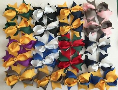 Pair Grosgrain Ribbon 9cm Party School Christmas Bow Ponytail Hair Clips/Bobbles