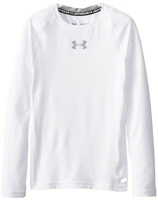 Under Armour Heat Gear Fitted LS  - Youth Medium - White - NEW