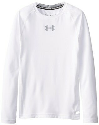 Under Armour Heat Gear Fitted LS  - Youth Small - White - NEW