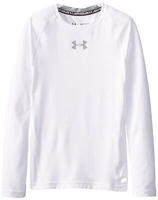 Under Armour Heat Gear Fitted LS  - Youth Extra Small- White - NEW