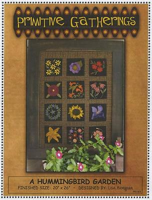 A Hummingbird Garden Flowers Wool Applique Primitive Gatherings Quilt Pattern