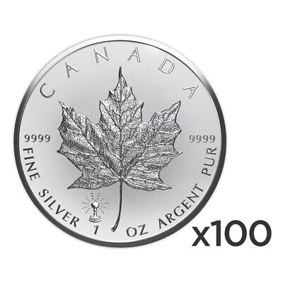 Lot of 100 x 1 oz 2018 Canadian Maple Leaf Light Bulb Privy Reverse Proof Silver