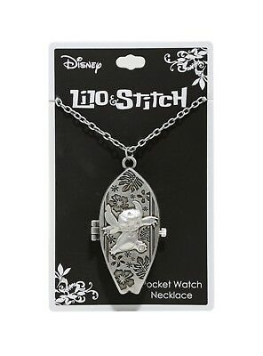 Disney Lilo & Stitch Surfboard Pocket Watch Necklace Hinged Pendant NWT