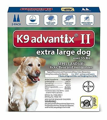 K9 Advantix II Extra Large Dogs (Over 55 lbs, 2 Month Supply) USA EPA APPROVED